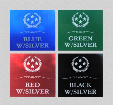 These are the four colored plate options for Silver Text.
