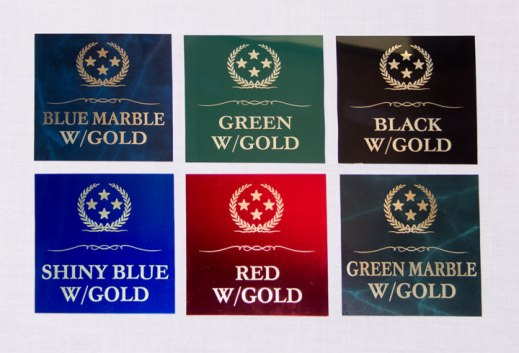 These are the six colored plate options for Gold Text.